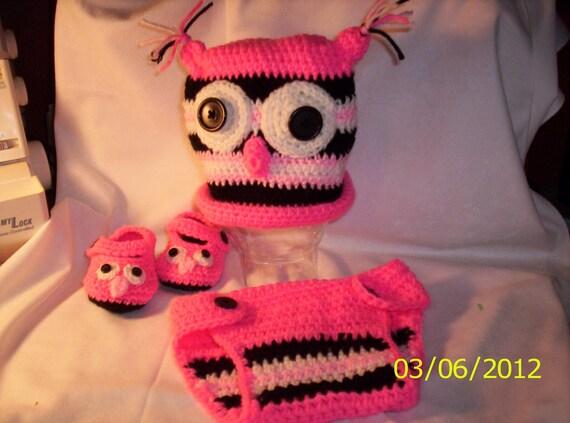 Crocheted Baby Owl Set