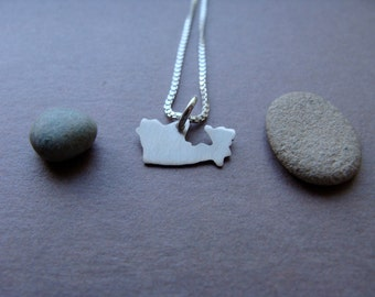Tiny Canada Necklace. Small Sterling Silver Custom Country Shaped Canada Charm. Gold Canada Necklace accessories.