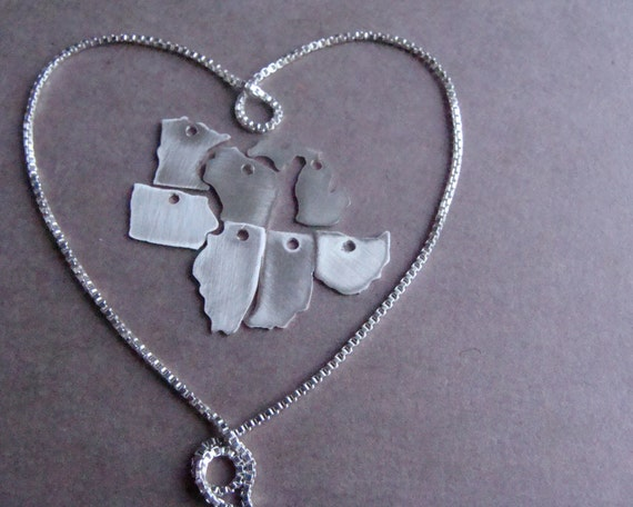Custom Tiny State/Country Necklace(sterling silver)