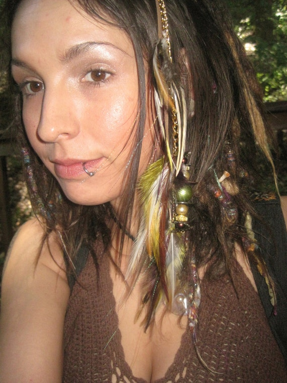 Custom Order Steam Punk Feather,Leather and Chain Hair Fall For LISAV