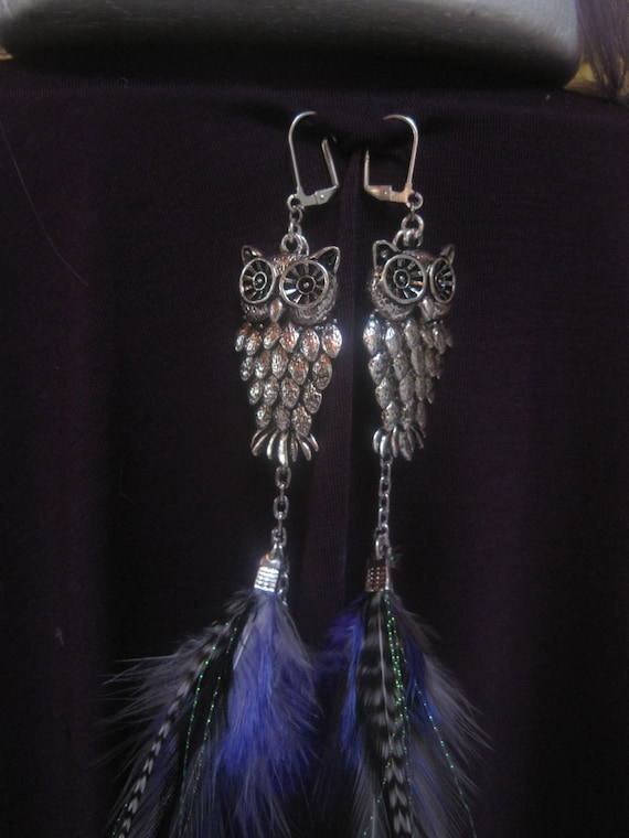 Owl Feather Earrings-Silver Findings-Black/White/Purple Feathers