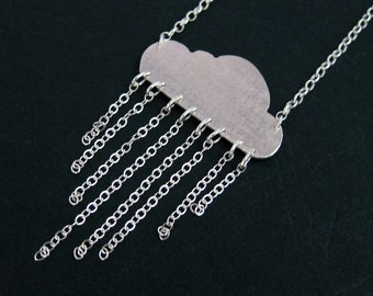 Rain Cloud Necklace - Sterling Silver Rain Cloud Jewelry - Unique Weather Necklace - Gift Ideas for Her