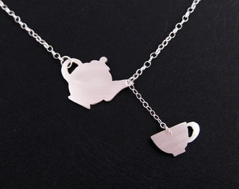 Silver Teapot Necklace - Silver Teacup Necklace - Alice in Wonderland  Jewelry - Fairy Tale Jewelry - Tea Lover Gift