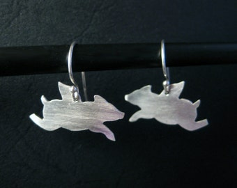 Flying Pig Earrings - Quirky Silver Pig Jewelry - When Pigs Fly - Whimsical Pig Gifts