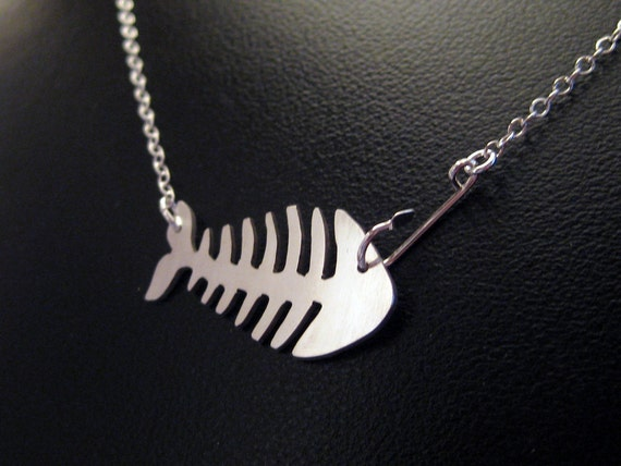 Items similar to fish necklace sterling silver fish hook for Silver fish hook necklace