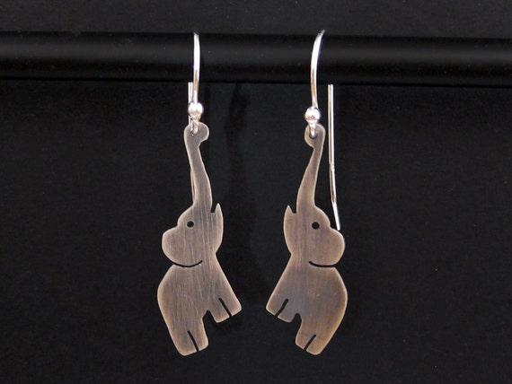 Elephant Earrings - Silver Elephant Jewelry - Fun Animal Earrings - African Animal Lover Gift - Lucky Elephant African Earrings