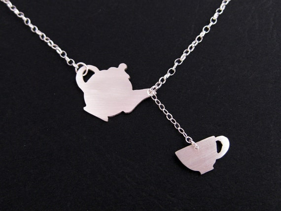 Teapot and Teacup Necklace -  Silver Fairy Tale Jewelry - Alice in Wonderland - Tea Party - Whimsical Teapot Necklace