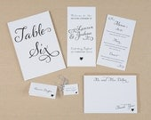 Whimsical Wedding Day-of Stationery - Menu, Table Number, Ceremony Program, Place card, Thank You card, Favour Tag, Escort Card