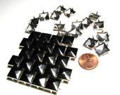 100 Medium Gunmetal Black Silver Pyramid Studs - 8mm x 8mm - Square Peaked Studs, 4 Pronged Back - DIY Fashion Design Supplies