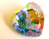 AURORE BOREALE - Large AB Pastel Rainbow Prismatic Heart Shaped Crystal - 28mm