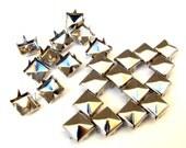 100 Medium Silver Pyramid Studs - 8mm x 8mm - Square Peaked Studs, Bright Shiny Silver, 4 Prongs - DIY Fashion Design Supplies