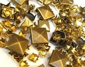 Gold and Bronze Stud GRAB BAG - 250 Or More Mish Mash of Metal Studs - DIY Leather Craft Supply