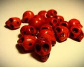 15 Bright Blood Red Day Of The Dead Sugar Skull Beads - Dyed Howlite Tuquoise - 1/2 Inch / 12mm