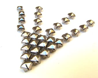 100 Small Silver Pyramid Studs - 6mm x 6mm Square Peaked 4 Pronged Bright Nickel Studs - Ships From US - Leather, DIY, Punk Rock Supply