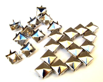 100 Medium Silver Pyramid Studs - 8mm x 8mm - Square Peaked Studs, Bright Shiny Silver, 4 Prongs - DIY Fashion Design Supplies