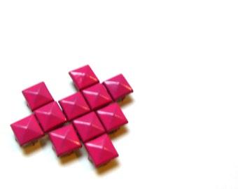 50 Bubblegum Pink Enameled Large Pyramid Studs - 11mm