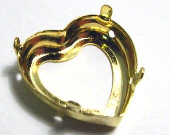 Gold Heart Shaped Bezel Pendant Setting - 28mm x 30mm x 8mm - Fits Large Heart Shaped Swarovski Crystals