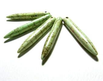 6 Extra Large Lime Green Howlite Spikes - 45mm x 6mm Spears