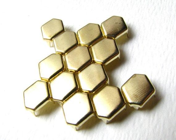 250 Bulk Pack Of Hexagon Bright Gold Flat Metal Studs - 11mm x 8mm