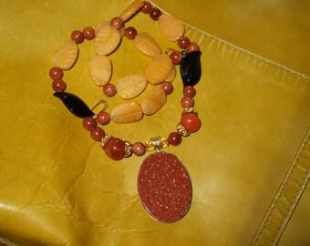 Antique Goldstone Citrine Yellow Jade Onyx Large Pendant Necklace FREE SHIP