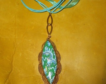 Dragons of the Deep Vintage Ceramic Filigree on Aqua Silk Necklace  FREE SHIP
