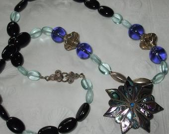 Taxco Ho- Sterling Paua Inlay Blue Topaz Purple Antique Glass Onyx Long Necklace FREE SHIP