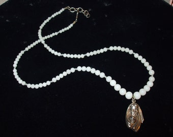 Winter Solace - Antique Milk Glass Sterling Madonna and Baby Jesus Medallion Necklace