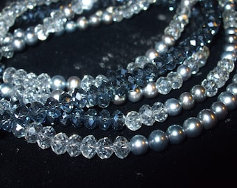 Midnight Madness...Montana Blue Swarovski and Angel Rondelles with Gray Pearls 3 Strand Sterling