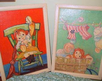 Vintage American Folk Art Beatrice Davis RAG DOLL Original Oil Paintings 10x14 Initials