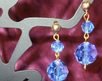 Baby Blues Be Gone...Gorgeous Gem Blue 12mm AB 14K goldfilled Dangle Pierced Earrings