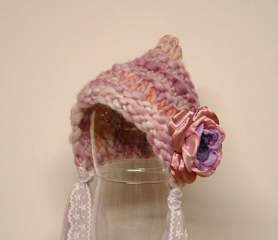 Newborn Photography Prop Baby Girl Pixie Bonnet with Flower Handspun Yarn lavender purple peach
