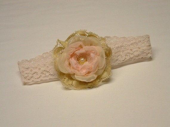 Vintage Inspired Newborn Photo Prop Baby Flower Headband pink peach gold Ready to Ship