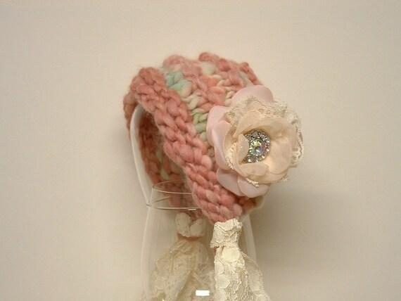 Newborn Photo Prop Vintage Inspired Bonnet with Floower Baby Hat pink green cream