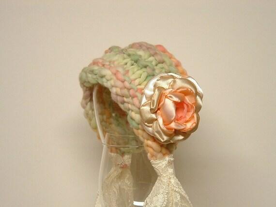 Newborn Photo Prop Vintage Inspired Bonnet Baby Hat green pink peach orange purple