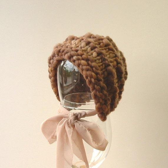 Newborn Photo Prop Vintage Inspired Baby Bonnet Boy Hat Handspun Yarn brown tan