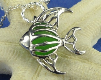 Angelfish Sea Glass Necklace Locket Green