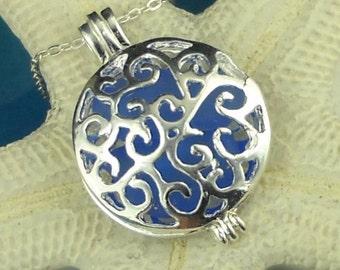 Cornflower Blue Sea Glass Necklace In Silver Locket for Erica