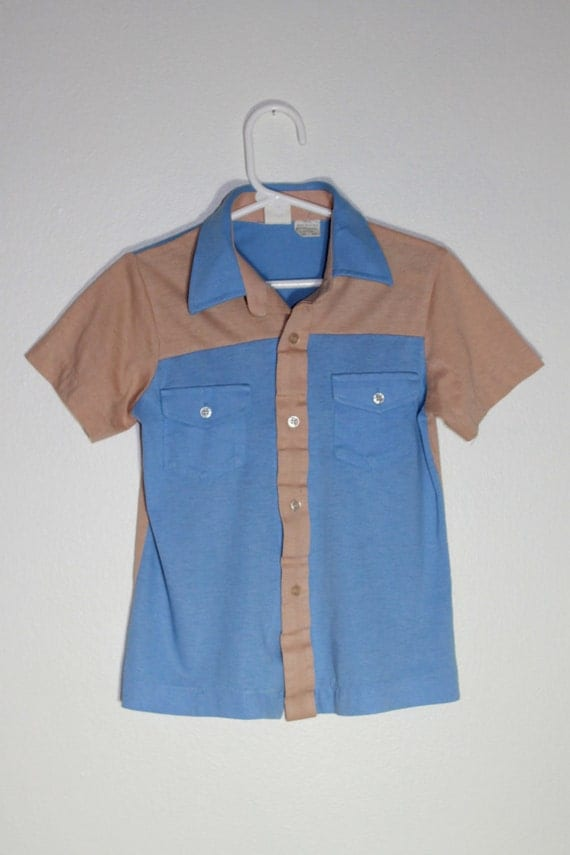 Vintage 60s Boys Light Blue and Ten Bowling Shirt Size 4 to 5
