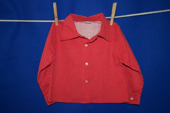 Vintage 70s Red and White Polka Dot Collared Button Down Shirt Size 2T