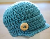 Baby Boy Newsboy Hat in Dusty Blue with Wooden Buttons, Baby Boy Clothes, Baby Boy Photo Prop, Baby Boy
