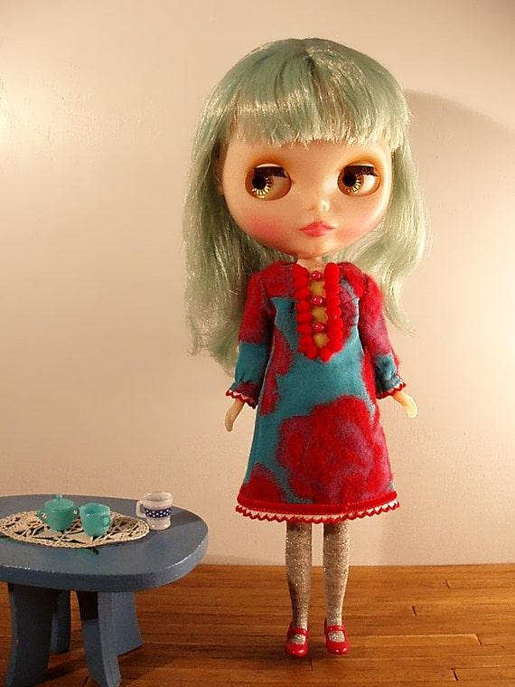 Blythe red flower on aqua blue dress