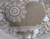 LARGE Burlap Heart Pillow Sachet filled PLUMP with Balsam Fir tips Embellished with Vintage Trim