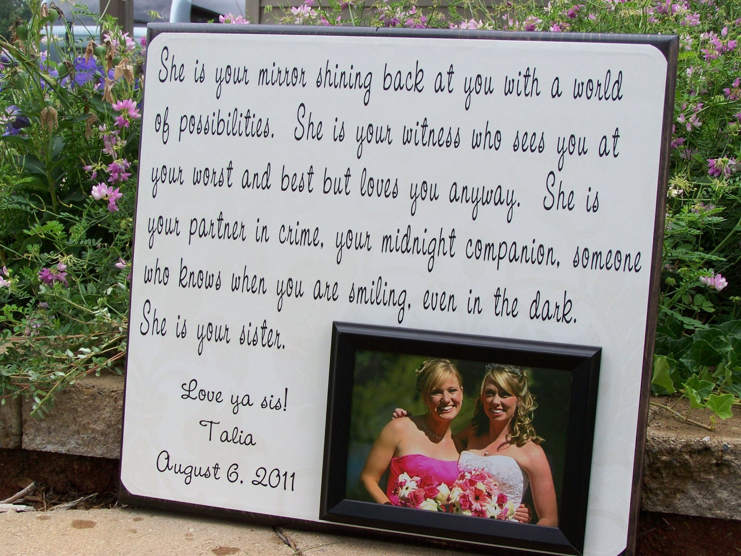 Homemade Wedding Gift For Sister : Handmade Wedding Photo Frame She is Your by YourPictureStory