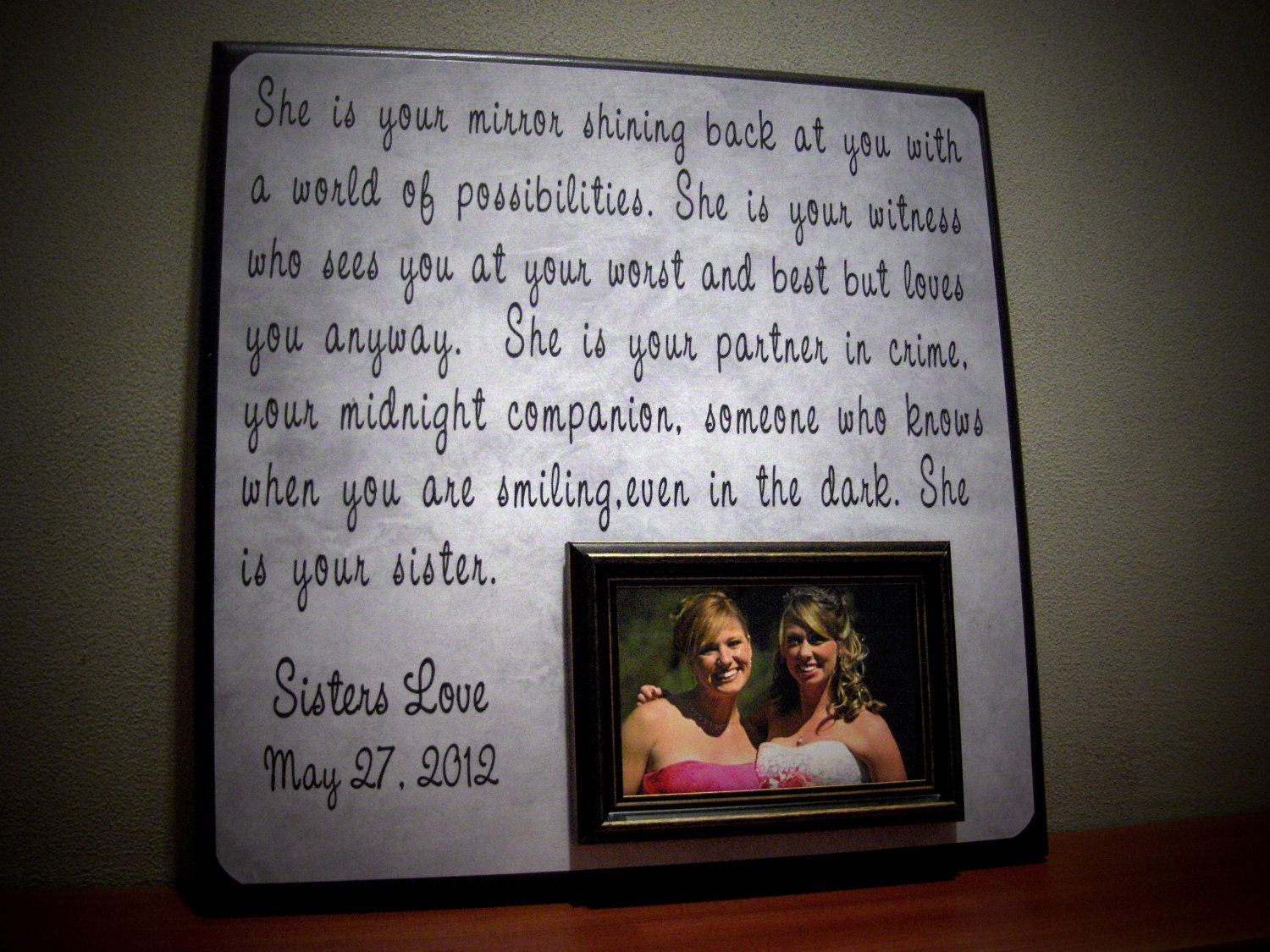 Custom Sisters Wedding Frame She IS YOUR by YourPictureStory