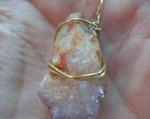 Spiritual Wisdom Wire-wrapped Pendant with Amethyst Spirit Quartz, Reiki Charged