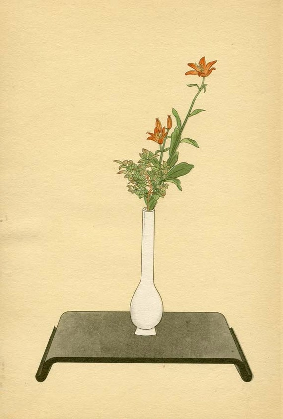 BOTANICAL BOOK PAGE 1934 Japanese Plate No. 22 Lily and Wax Tree
