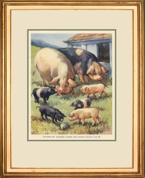 """VINTAGE CHILDRENS BOOK Page Piglets from """"Farmyard Friends"""" c. 1940s"""