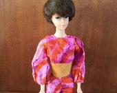 Groovy Barbie. Mod Vintage Barbie Pantsuit in Pyschedelic Purple, Orange, and Pink with Faux Suede Trim. 1970s, 2 Piece.