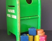 Awesome 1950's Green Painted Wood Playskool Postal Station w/Blocks. Vintage Toys at WindyAcreTreasures Ship Insured.