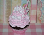 Shabby Cottage FAKE CUPCAKE, Pastel Pink and White, Chocolate Cake, perfect Photograhy Photo Prop, Home Decor, Unique Gift